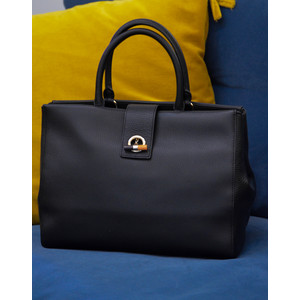 Black T-Bar Tote Bag Artist Stripe Trim Black