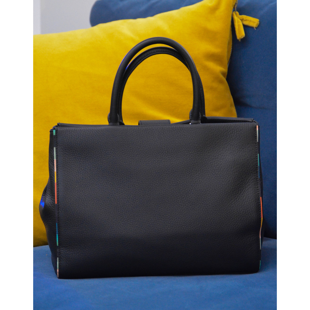 Paul Smith Accessories Black T-Bar Tote Bag Artist Stripe Trim Black