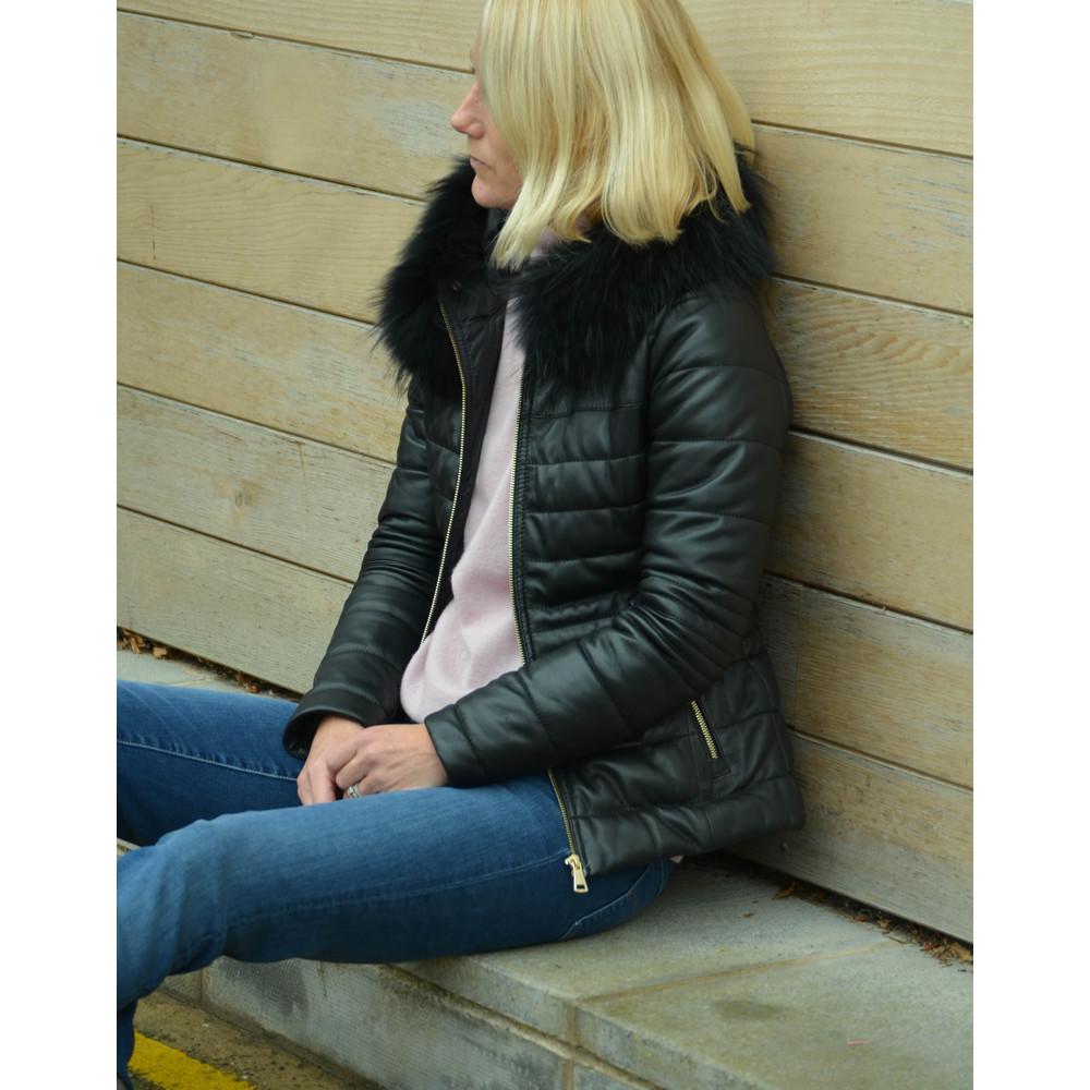 Oakwood Jelly Leather Jacket Fur Trim Hood Black