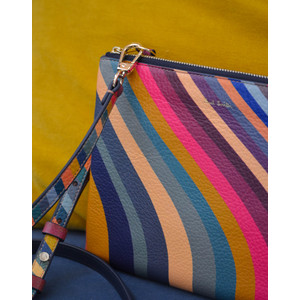 Swirl Print Calf Leather Pochette Multicolour