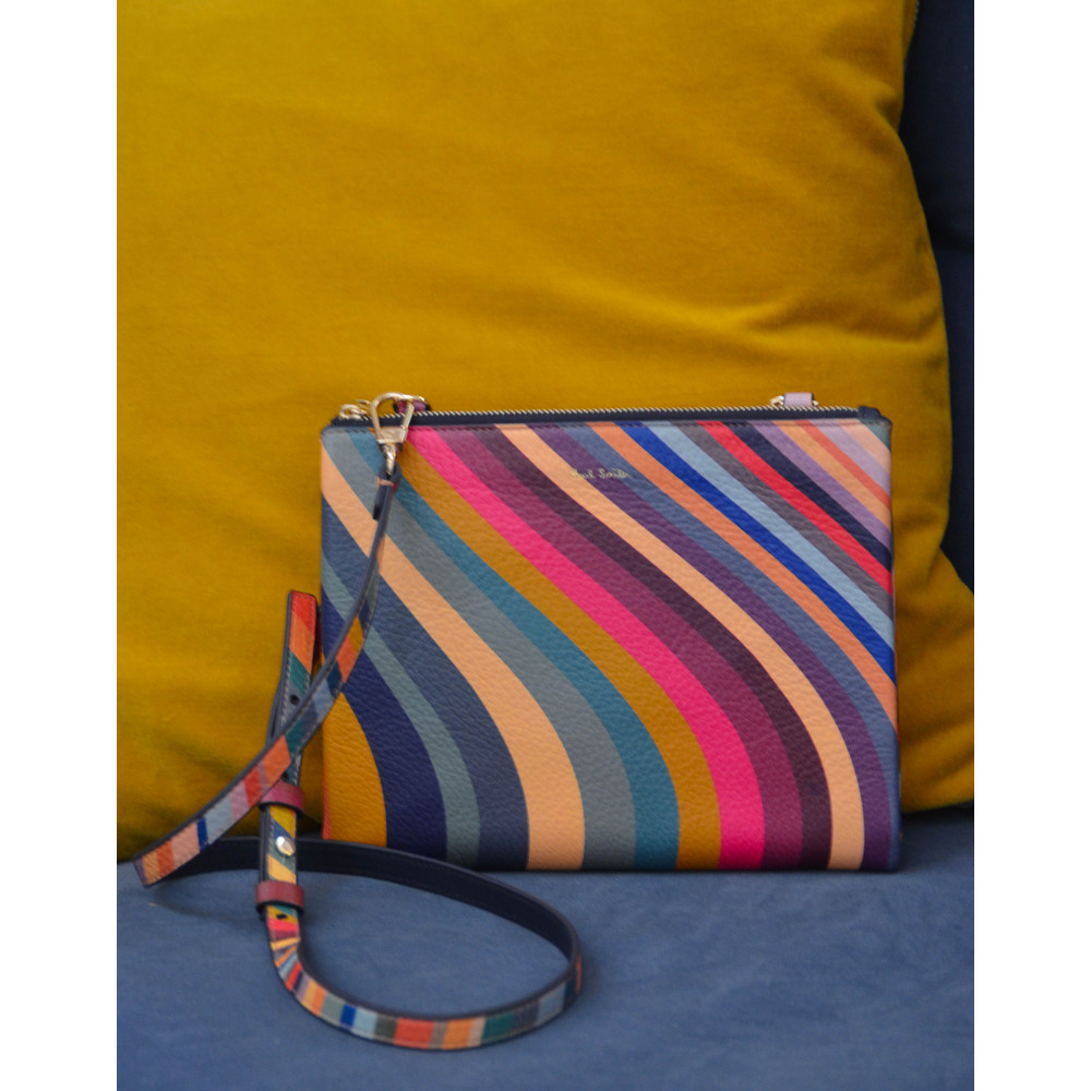 Paul Smith Accessories Swirl Print Calf Leather Pochette Multicolour