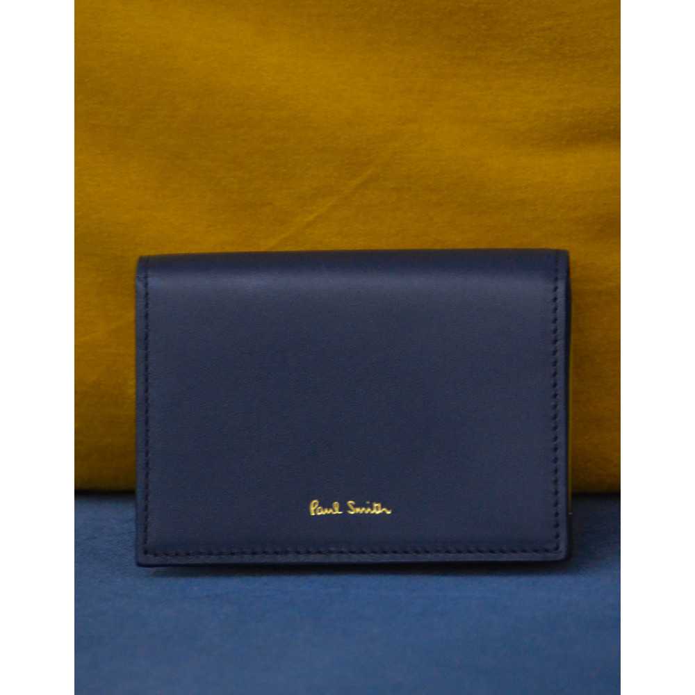 Paul Smith Accessories Navy Concertina Swirl Leather Card Wallet Navy