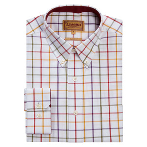 Brancaster Shirt Red-Purple-Must-Olive