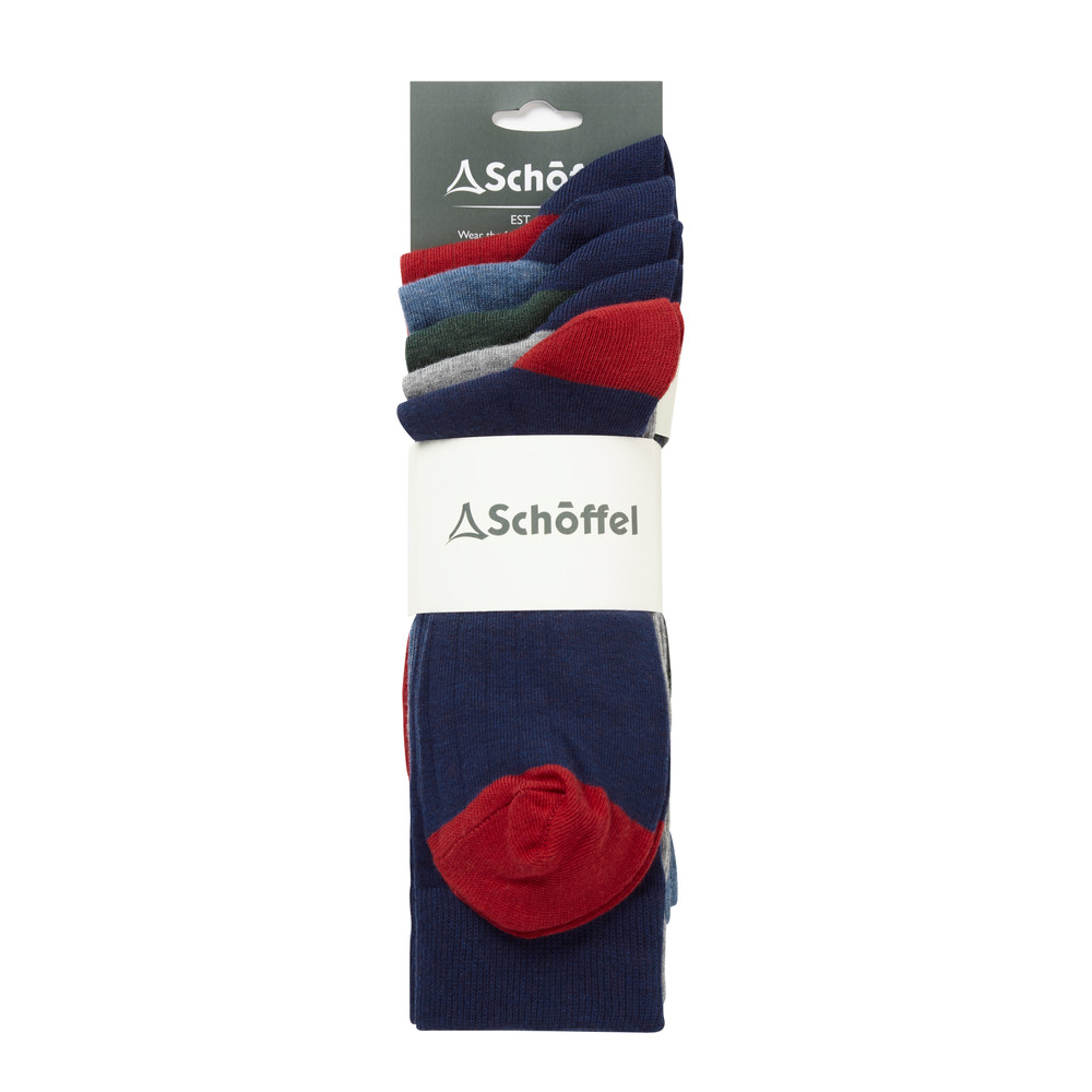 Schoffel Country Spey Socks Pack of 5 Navy Mix