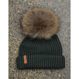 Army Green Hat Set Natural Pom Army Green