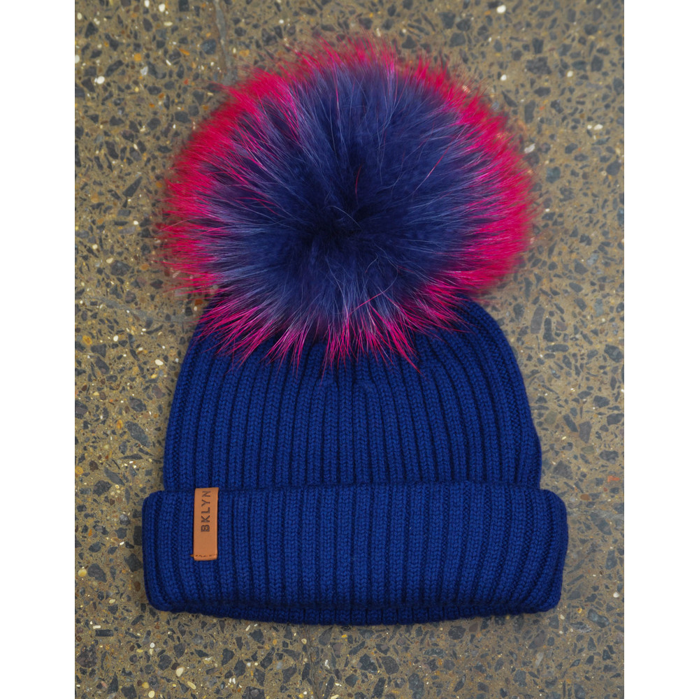Bklyn Royal Blue Hat Set Navy Pink Pom Royal Blue
