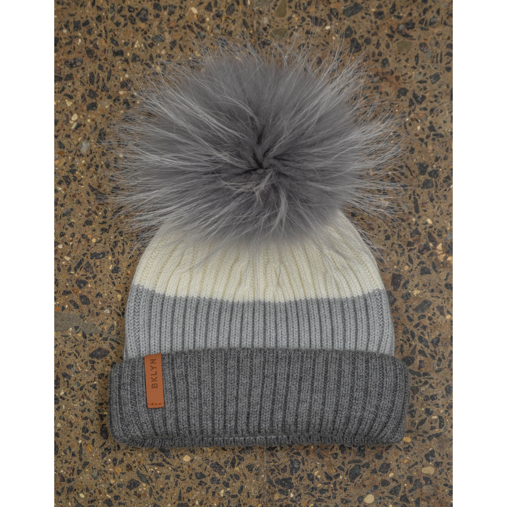 Bklyn White Grey Hat Set Mid Grey Pom White/Grey