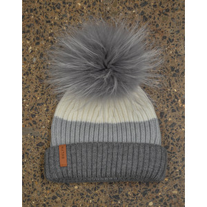 White Grey Hat Set Mid Grey Pom White/Grey