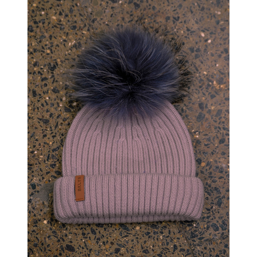 Bklyn Powder Pink Hat Set Dark Grey Pom Powder Pink