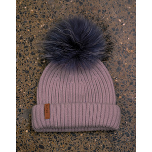 Powder Pink Hat Set Dark Grey Pom Powder Pink