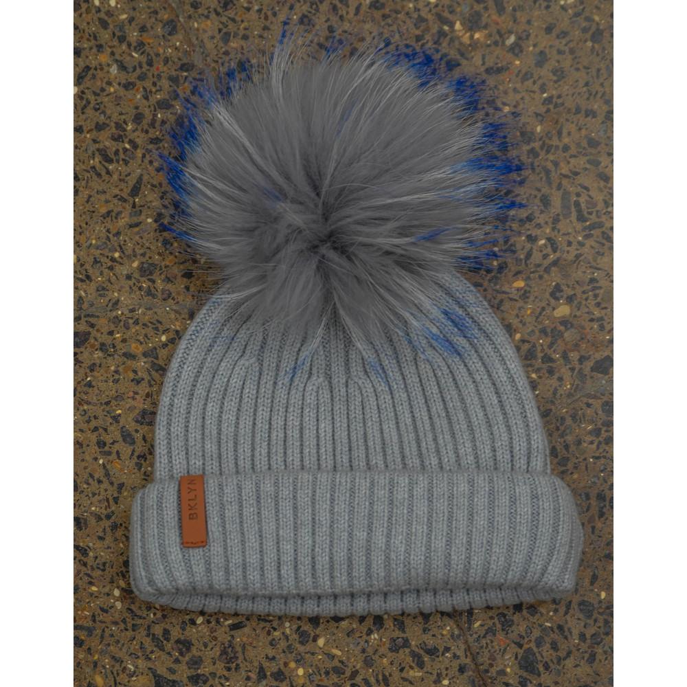 Bklyn Light Grey Hat Set Grey Blue Pom Light Grey