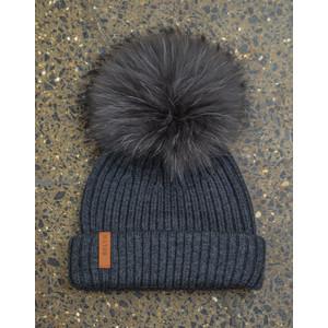 Charcoal Hat Set Dark Grey Pom Charcoal