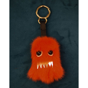 Bklyn Ghost Charm Keyring in Orange