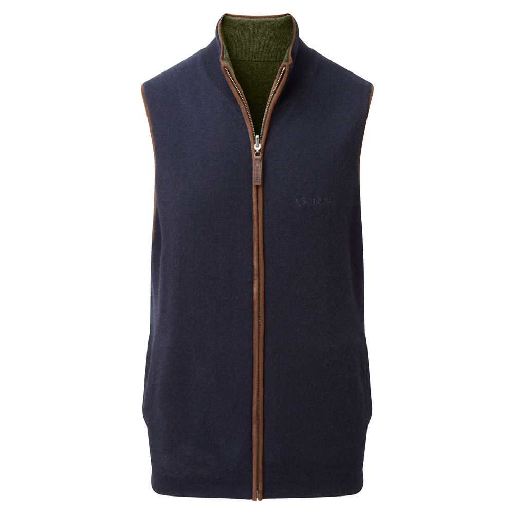 Schoffel Country Merino/Cash Gilet Reversible Navy/Loden