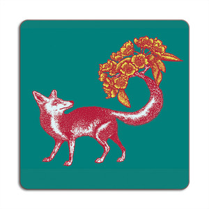 Fox Placemat 24cm x 24cm Sea Green