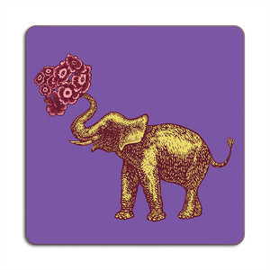 Elephant Placemat 24cm x 24cm Purple