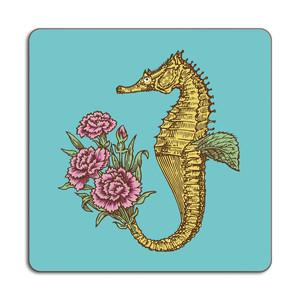 Seahorse Placemat 24cm x 24cm Light Blue