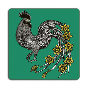 Rooster Placemat 24cm x 24cm Dark Green