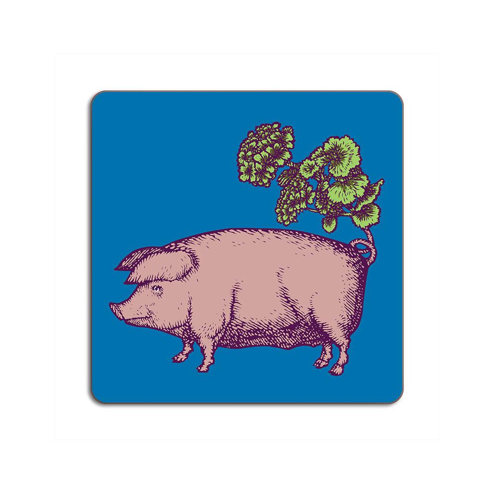 Avenida Home Pig Placemat 24cm x 24cm Green