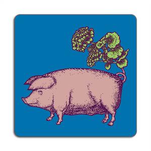 Pig Placemat 24cm x 24cm Green