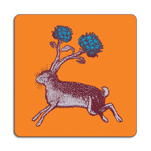 Hare Place Mat 24cm x 24cm Orange
