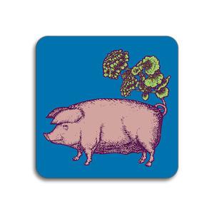 Pig Coaster Blue