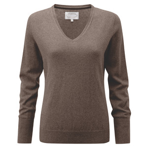 Schoffel Country Cotton Cashmere V Neck in Mink