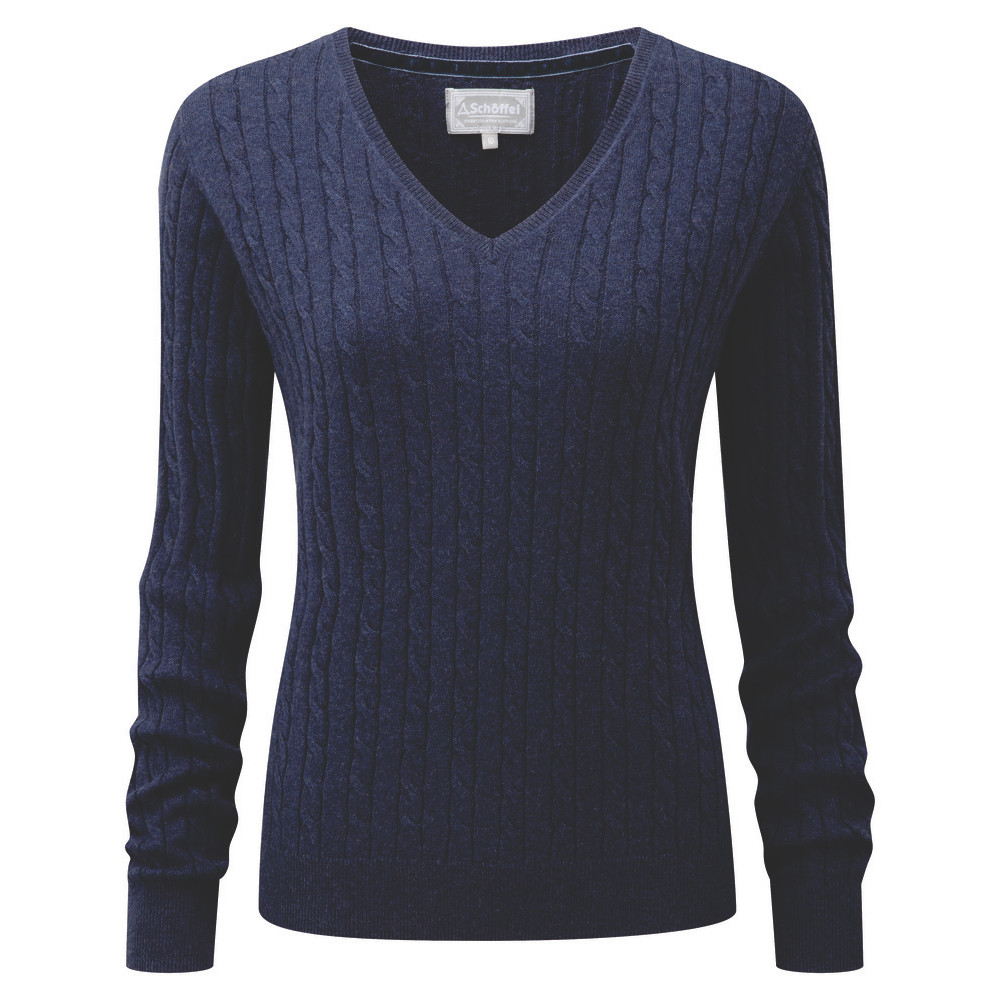 Schoffel Country Cotton Cashmere Cable V Neck Indigo