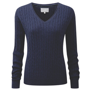 Cotton Cashmere Cable V Neck Indigo