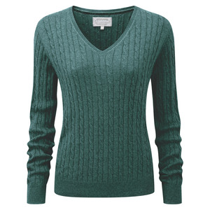 Schoffel Country Cotton Cashmere Cable V Neck in Kingfisher