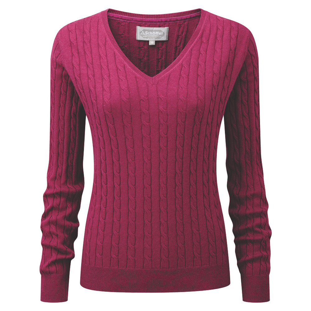 Schoffel Country Cotton Cashmere Cable V Neck Raspberry