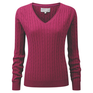 Schoffel Country Cotton Cashmere Cable V Neck in Raspberry