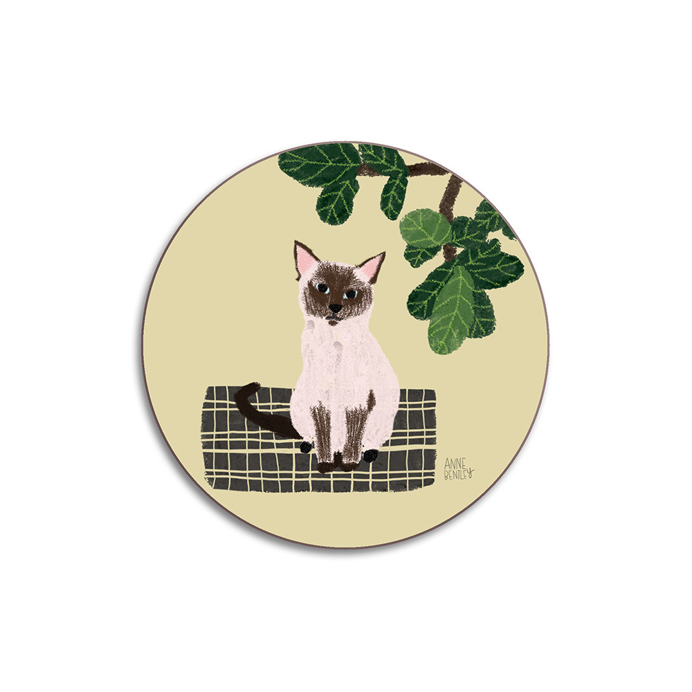 Avenida Home Cats Siamese Coaster Yellow
