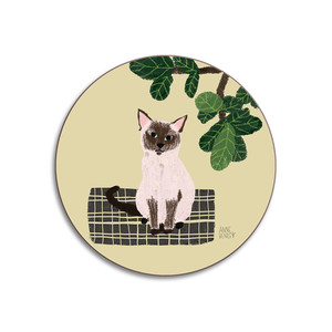 Cats Siamese Coaster Yellow