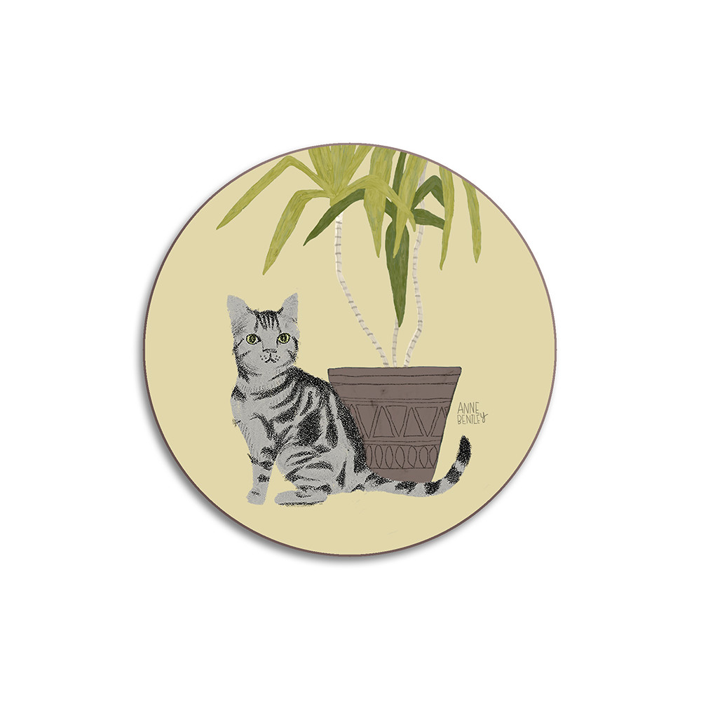 Avenida Home Cats Tabby Coaster Yellow