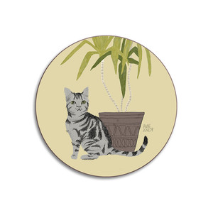 Cats Tabby Coaster Yellow