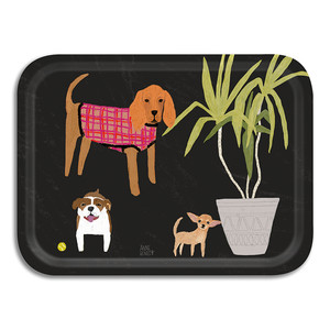 Dogs Small Tray Black