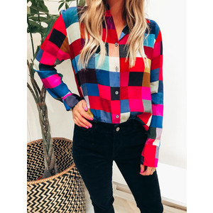 Colour-Block Check Shirt Multicolour