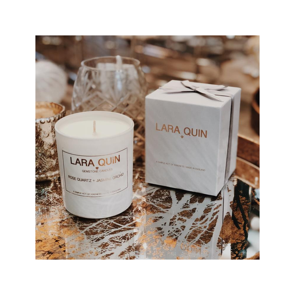 Lara Quin Soy Gemstone Candle Hand Poured Rose Quartz/Jasmine