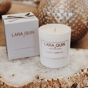 Lara Quin Soy Gemstone Candle Hand Poured in Quartz&Amber Lily