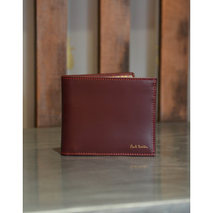 Leather Billfold Wallet Signature Stripe Burgundy