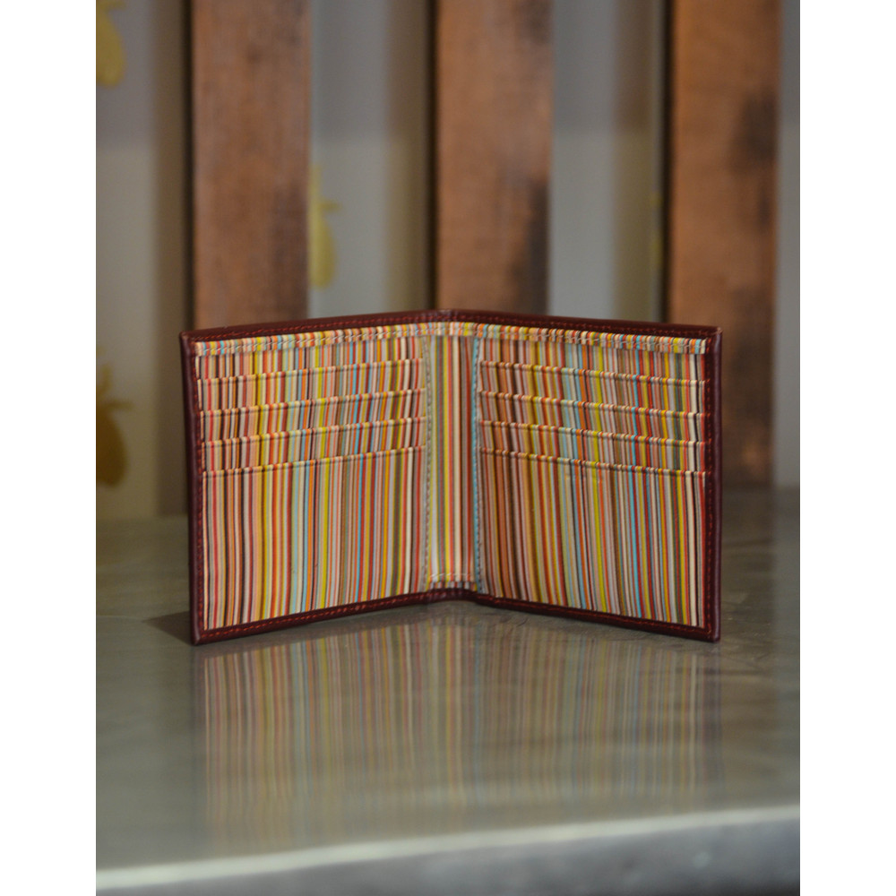 Paul Smith Accessories Leather Billfold Wallet Signature Stripe Burgundy