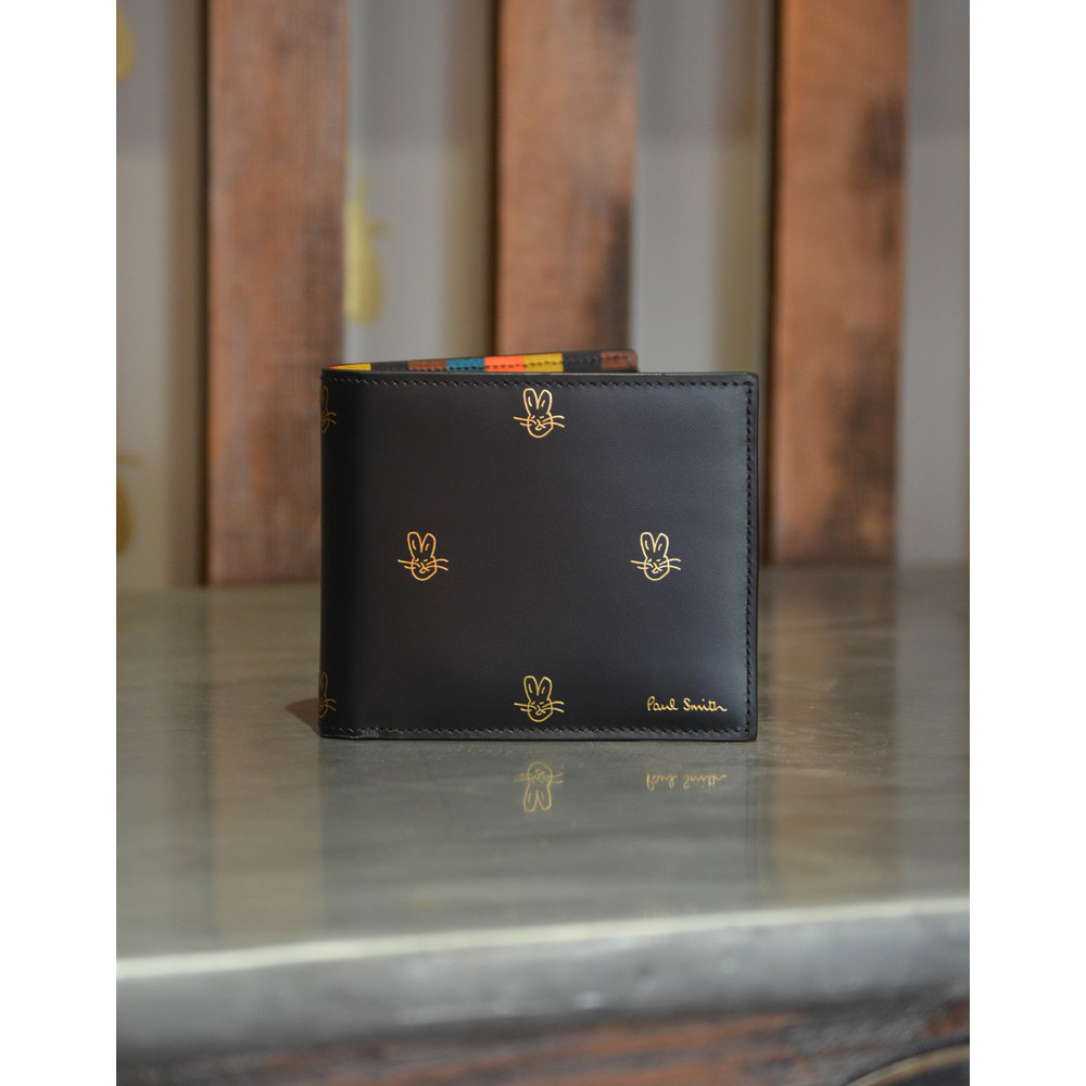 Paul Smith Accessories Bunnies Bill Fold Wallet Gold Bunnies Black/Gold