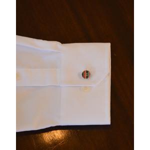 Enamel Button Cufflink Silver/Multi