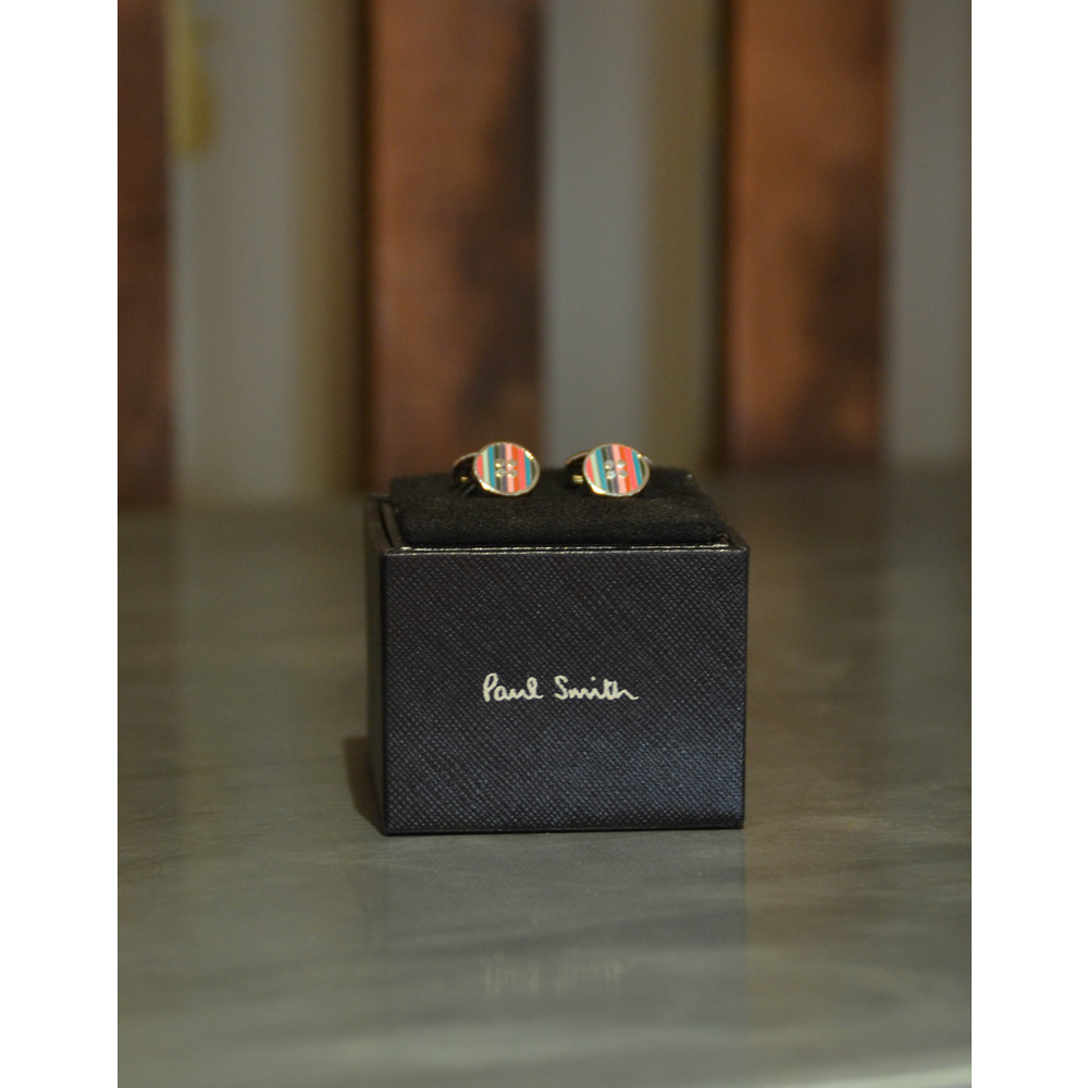 Paul Smith Accessories Enamel Button Cufflink Silver/Multi