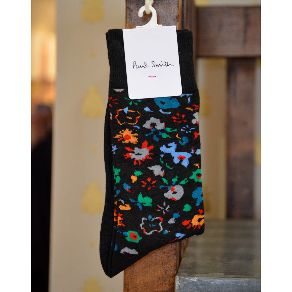 Paul Smith Accessories Decoupage Floral Socks Black/Multi