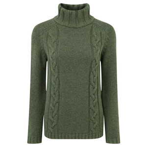 Schoffel Country Merino Cable Roll Neck Jumper in Grousemoor
