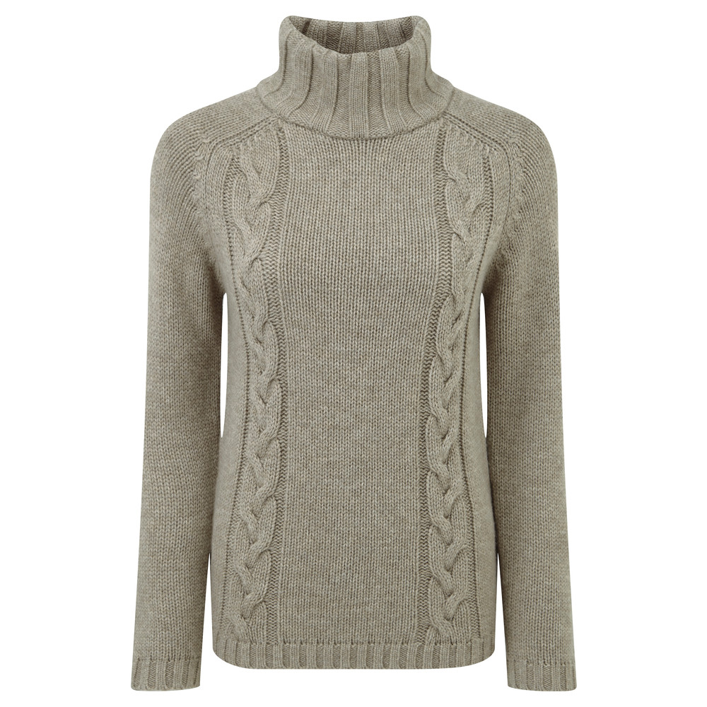 Schoffel Country Merino Cable Roll Neck Jumper Mink