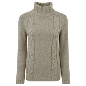 Merino Cable Roll Neck Jumper Mink