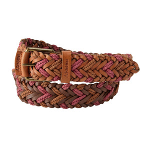 Woven Leather Belt Tan/Rose